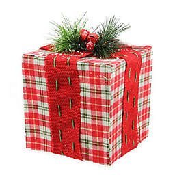 6-Inch Holiday Tabletop Gift Box Decoration in Red/Green
