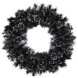 36-Inch Pre-Lit Bristle Wreath in Black