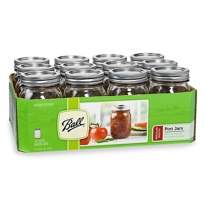 Alternate image 1 for Ball® Regular Mouth 12-Pack 1-Pint Glass Canning Jars