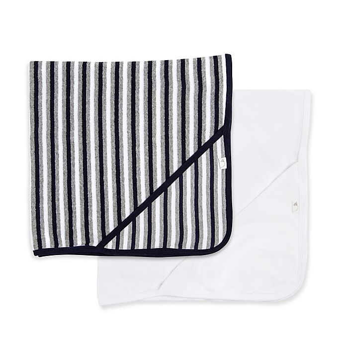 Alternate image 1 for Burt's Bees Baby® 2-Pack Striped Hooded Towels in Blueberry
