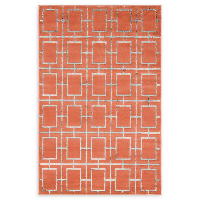 Alternate image 1 for Marilyn Monroe® Deco Glam Coral/silver 4' X 6' Powerloomed Area Rug in Coral/silver