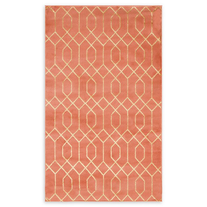 Alternate image 1 for Marilyn Monroe® Trellis Glam Rug in Coral/Gold