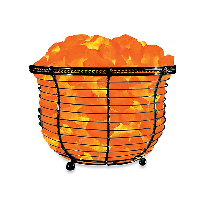 Himalayan Glow 174 Ionic Crystal Salt Basket Tall Lamp Bed