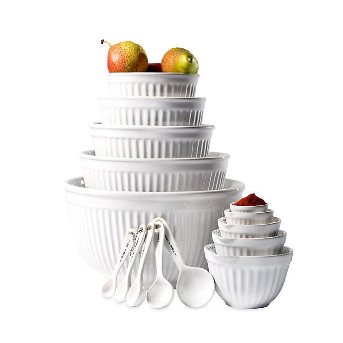 Basic Essentials 15-Piece White Ceramic Mixing Bowl