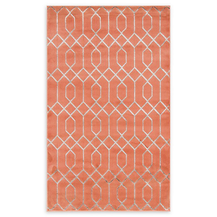 Alternate image 1 for Marilyn Monroe® Trellis Glam Coral 5' X 8' Powerloomed Area Rug in Coral