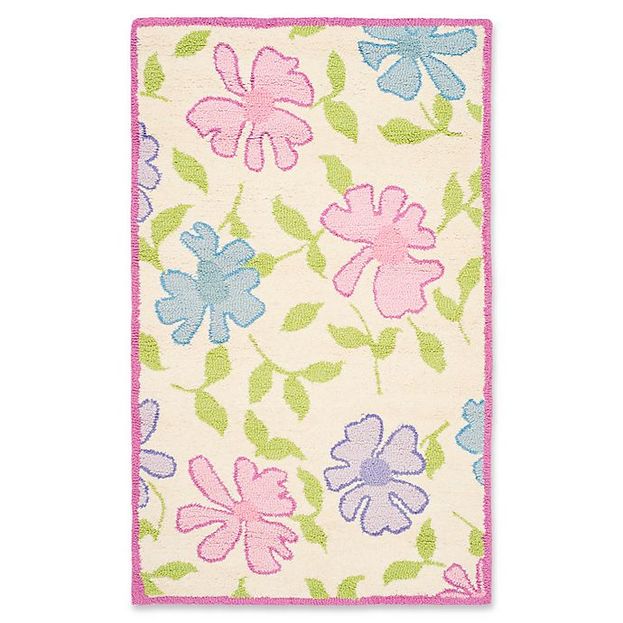 Alternate image 1 for Safavieh Kids Flowers 4' x 6' Area Rug in Ivory/Pink