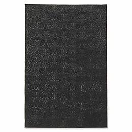 Linon Home Charisma Damask Rug in Black