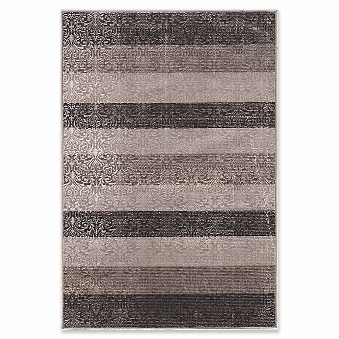 Alternate image 1 for Linon Home Charisma Damask Stripes 8' x 10'3 Power-Loomed Area Rug in Grey
