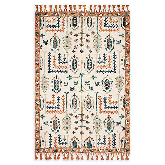 Alternate image 1 for Magnolia Home by Joanna Gaines Kasuri Rug in Ivory/Persimmon