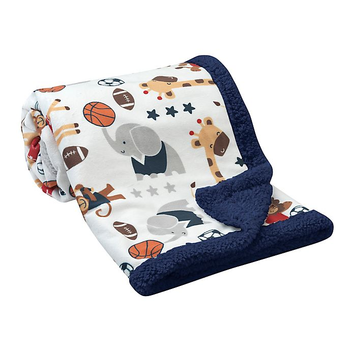 Alternate image 1 for Lambs & Ivy® Reversible All Star Sherpa Blanket in Blue