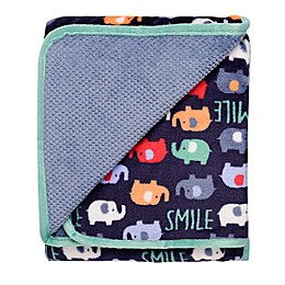 Baby Starters® Reversible Happy Elephants Plush Popcorn Blanket in Blue