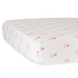 Hello Spud Pineapples Organic Cotton Fitted Mini Crib Sheet in Pink