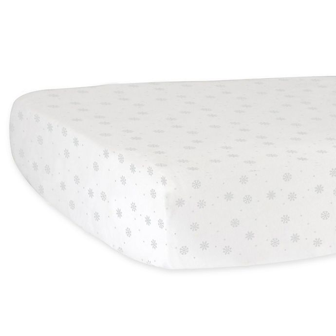 Alternate image 1 for Hello Spud Snowflake Fitted Crib Sheet in Grey