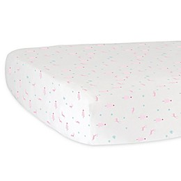 Hello Spud Our Girl Reindeer Fitted Crib Sheet in Pink