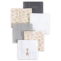 Hudson Baby® 6-Pack Giraffe Woven Terry Washcloths in Beige