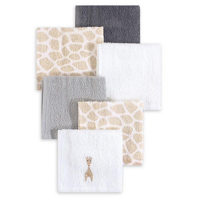Alternate image 1 for Hudson Baby® 6-Pack Giraffe Woven Terry Washcloths in Beige