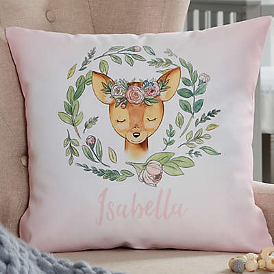 Woodland Floral Deer Personalized Throw Pillow