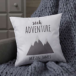 Personalized Woodland Adventure Mountains Baby Throw Pillow