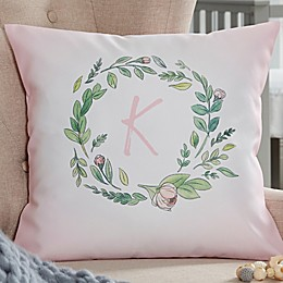 Woodland Floral Initial Personalized Throw Pillow