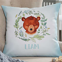 Woodland Bear Personalized Throw Pillow