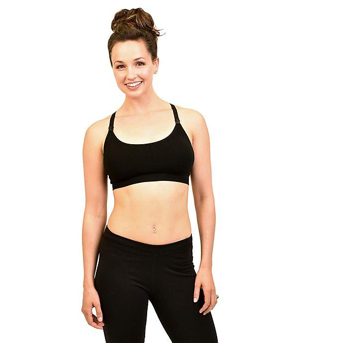 Alternate image 1 for Bamboobies® Large Yoga Nursing Bra in Black
