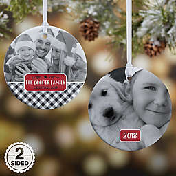 2-Sided Glossy Farmhouse Personalized Christmas Ornament- Small