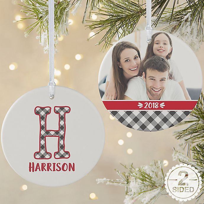 Alternate image 1 for Farmhouse Christmas Monogram Personalized Ornament