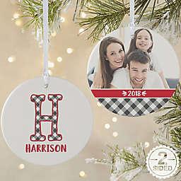 Farmhouse Christmas Monogram Personalized Ornament