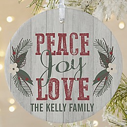 Peace, Joy, Love 1-Sided Large Matte Personalized Ornament