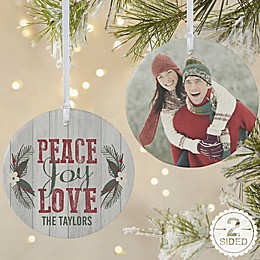 Peace, Joy, Love 2-Sided Large Matte Personalized Ornament