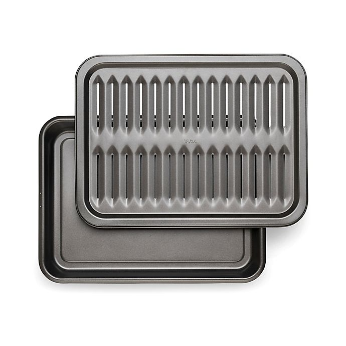 Alternate image 1 for T-Fal® Nonstick 17-Inch x 12.6-Inch 2-Piece Broiler Pan Set in Grey