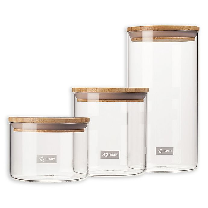 Alternate image 1 for Trinity Glass 3-Piece Canister Set in Clear/Brown