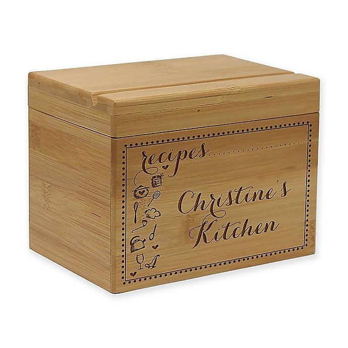 Alternate image 1 for Scroll Kitchen Essentials Bamboo Recipe Box
