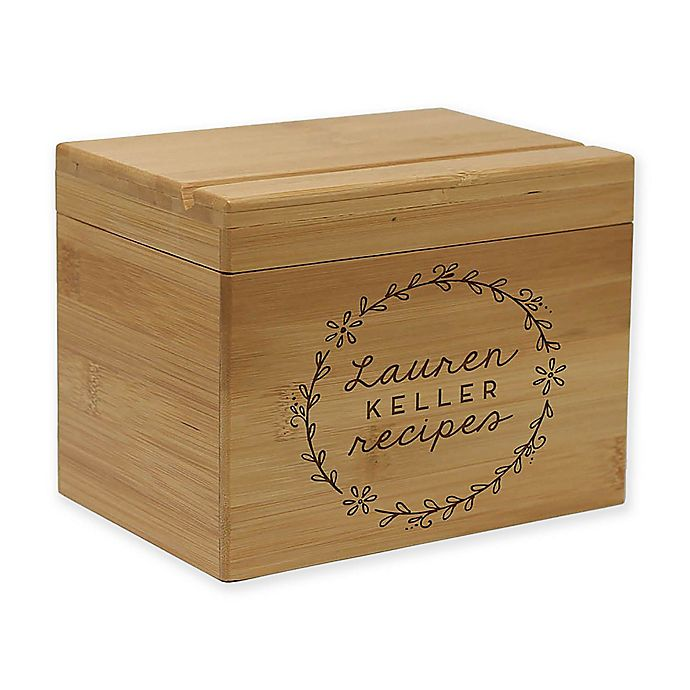 Alternate image 1 for Circular Vine Script Bamboo Recipe Box