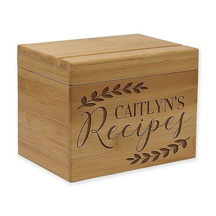 Alternate image 1 for Vine Leaf Bamboo Recipe Box