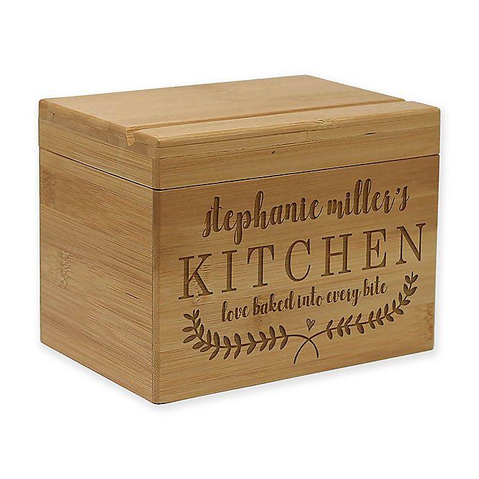 Alternate image 1 for Kitchen Vine Leaf Bamboo Recipe Box