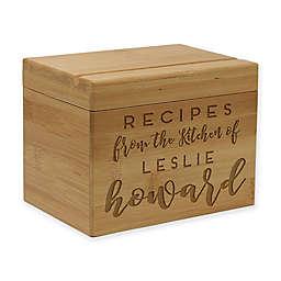 Print & Script Bamboo Recipe Box