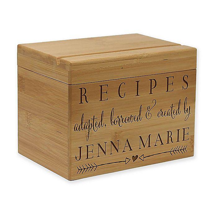 Alternate image 1 for Love Arrows Bamboo Recipe Box