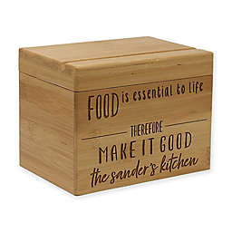 """""""Food is Essential"""" Bamboo Recipe Box"""