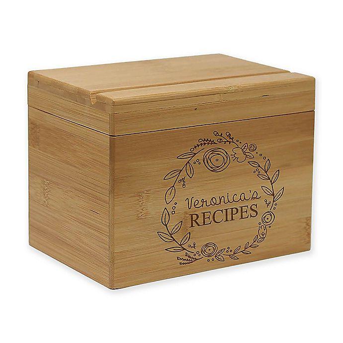 Alternate image 1 for Circular Vine Leaf Detail Bamboo Recipe Box