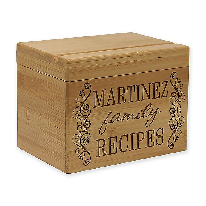Alternate image 1 for Scroll Family Recipes Bamboo Recipe Box