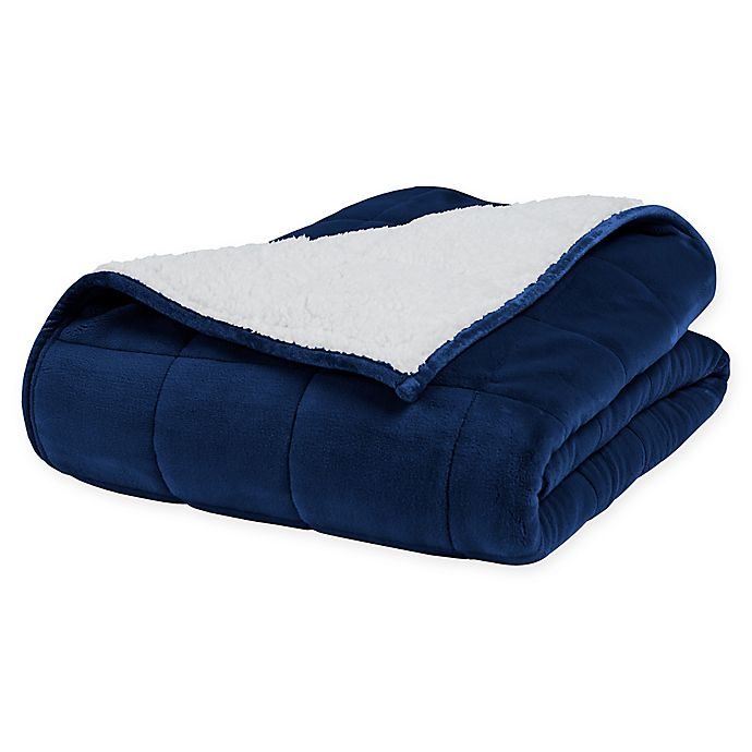 Alternate image 1 for Therapedic® Reversible Weighted Throw Blanket in Navy