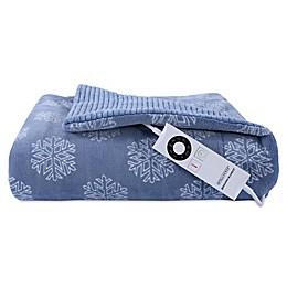 Berkshire Blanket® Intellisense™ Snowflakes Heated Throw in Blue