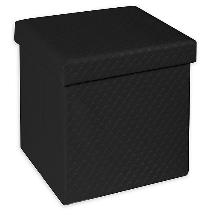 Alternate image 1 for Seville Classics® Faux Leather Upholstered Quilted Foldable Ottoman
