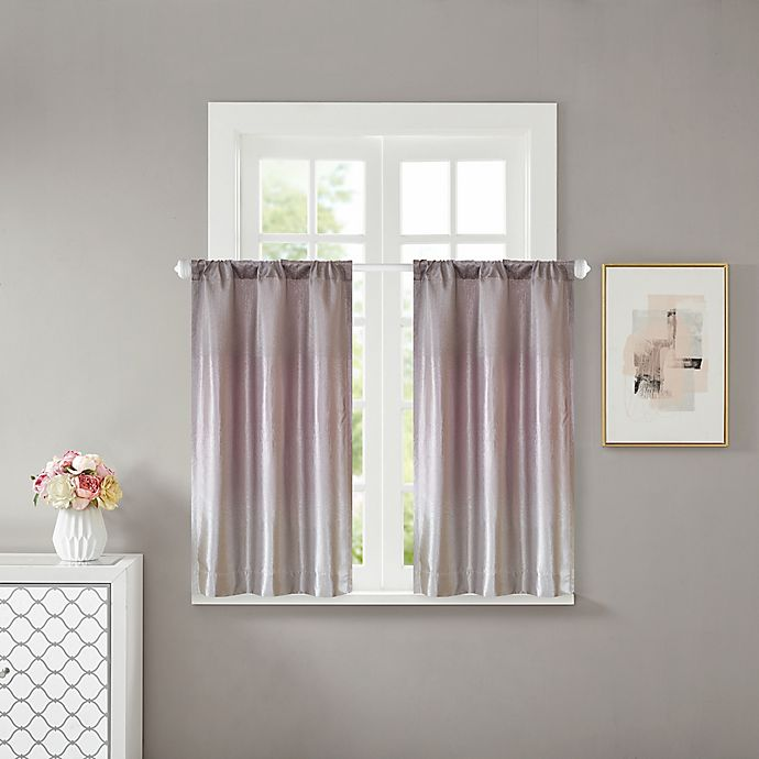 Alternate image 1 for Cortona 32-Inch Rod Pocket Window Curtain Panels in Purple (Set of 2)