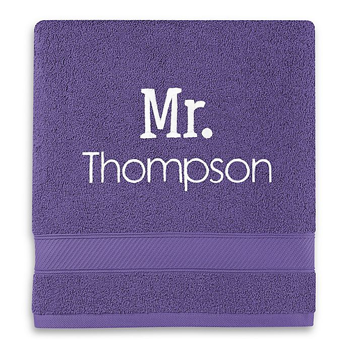 Alternate image 1 for Monogrammed  Wamsutta®  Hygro® Mr. & Mrs. Duet Bath Towel in Grape