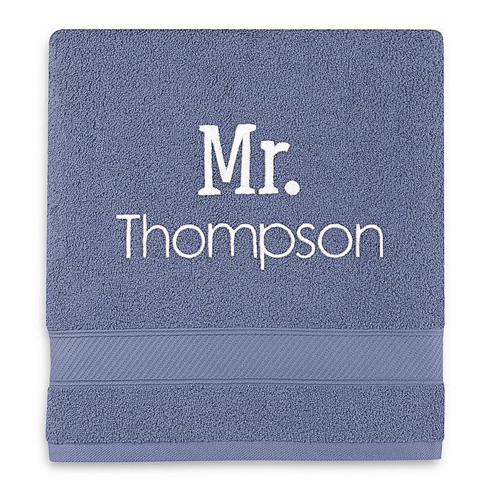 Alternate image 1 for Wamsutta® Personalized Hygro® Mr. & Mrs. Duet Bath Towel in Slate