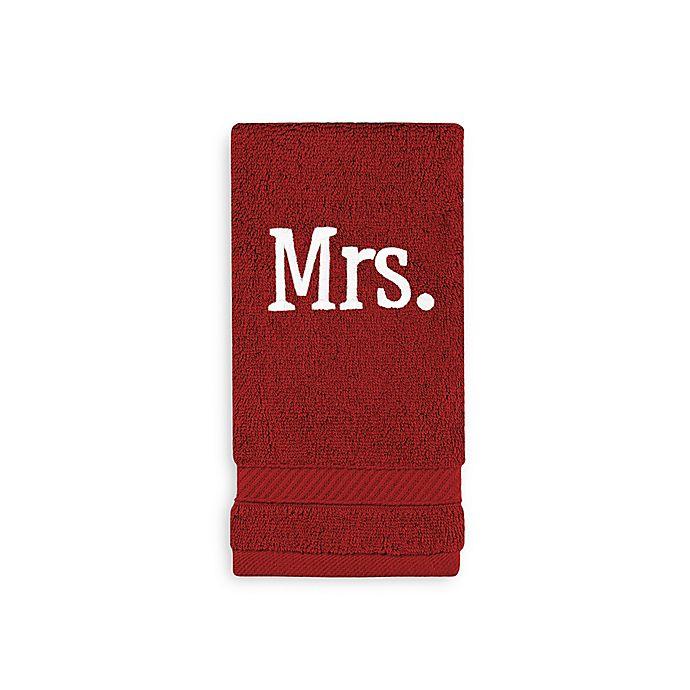 Alternate image 1 for Wamsutta® Personalized Hygro® Mr. & Mrs. Duet Fingertip Towel in Wine