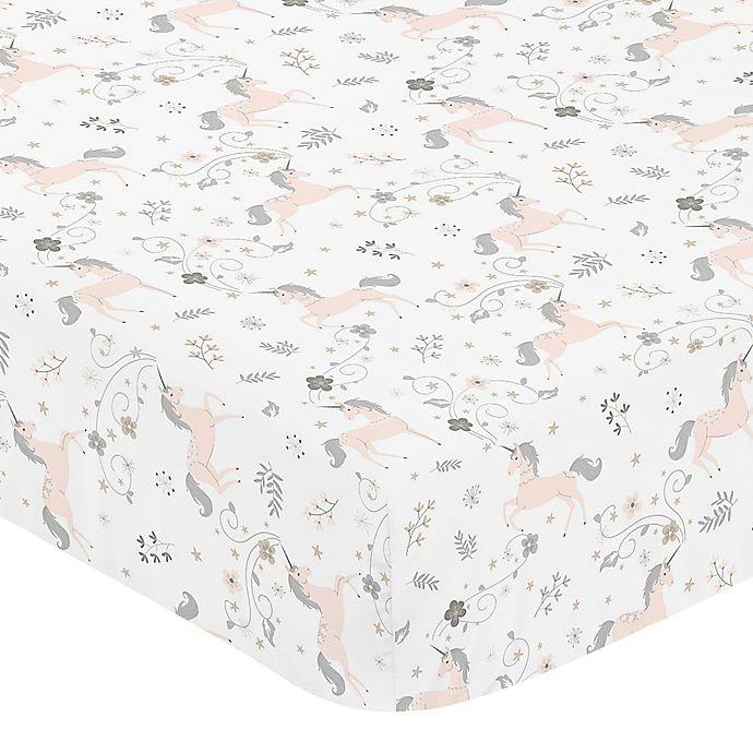 Alternate image 1 for Sweet Jojo Designs Unicorn Fitted Crib Sheet in Pink