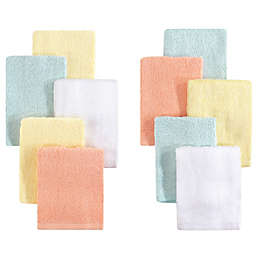 Little Treasures 10-Pack Luxurious Washcloths in Yellow/Peach